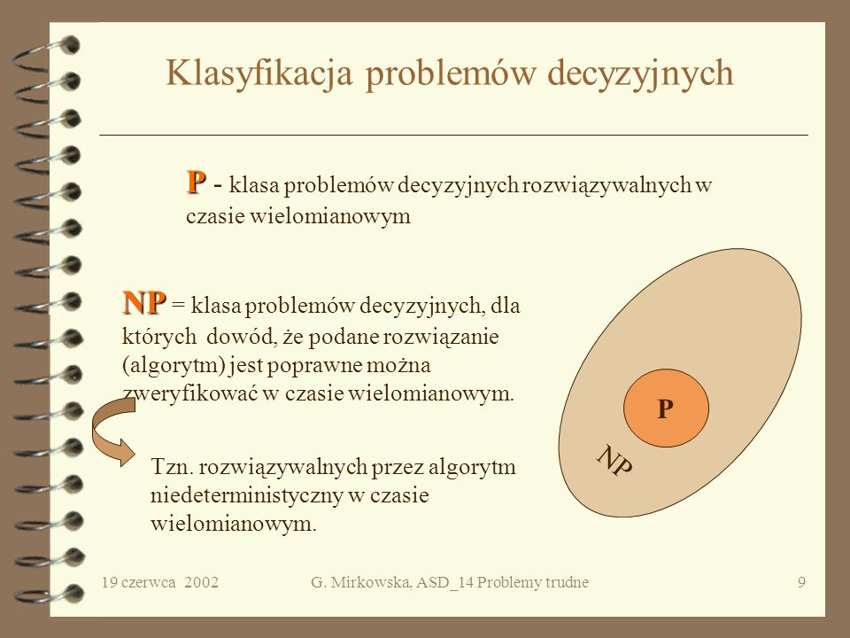 Klasyfikacja problemów decyzyjnych