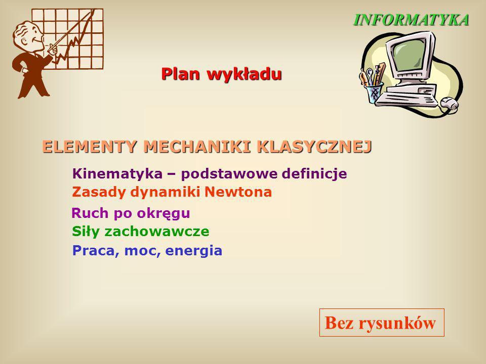 Bez rysunków INFORMATYKA Plan wykładu ELEMENTY MECHANIKI KLASYCZNEJ