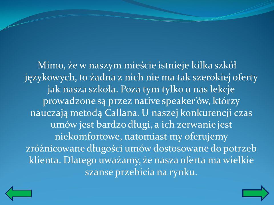 Mimo, że w naszym mieście istnieje kilka szkół językowych, to żadna z nich nie ma tak szerokiej oferty jak nasza szkoła.