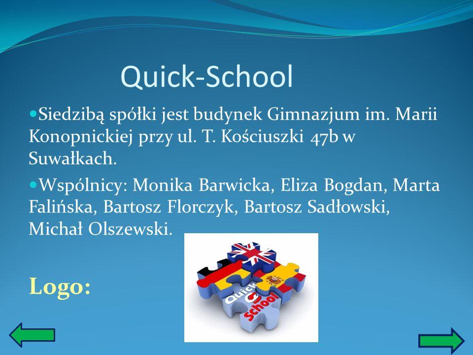 Quick-School Siedzibą spółki jest budynek Gimnazjum im. Marii Konopnickiej przy ul. T. Kościuszki 47b w Suwałkach.