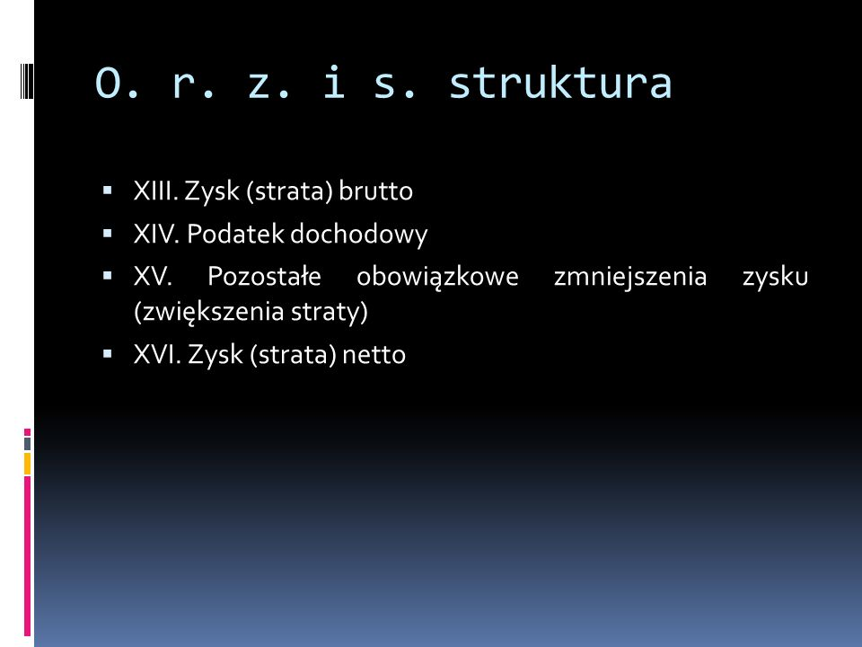 O. r. z. i s. struktura XIII. Zysk (strata) brutto