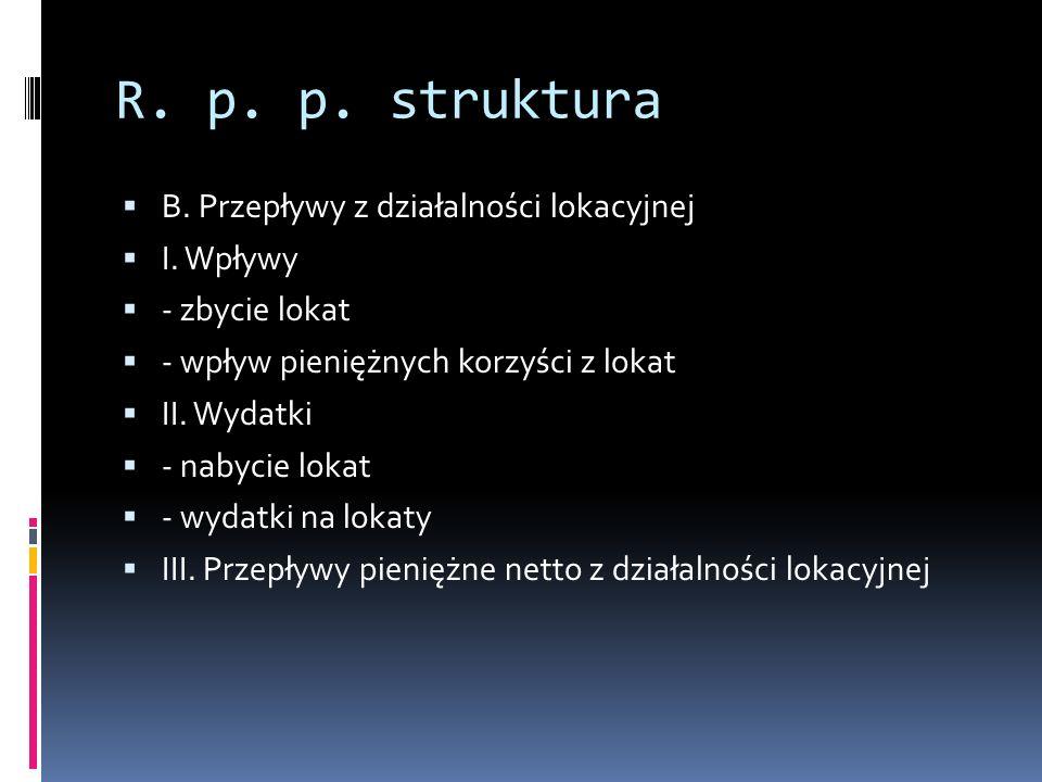 R. p. p. struktura B. Przepływy z działalności lokacyjnej I. Wpływy