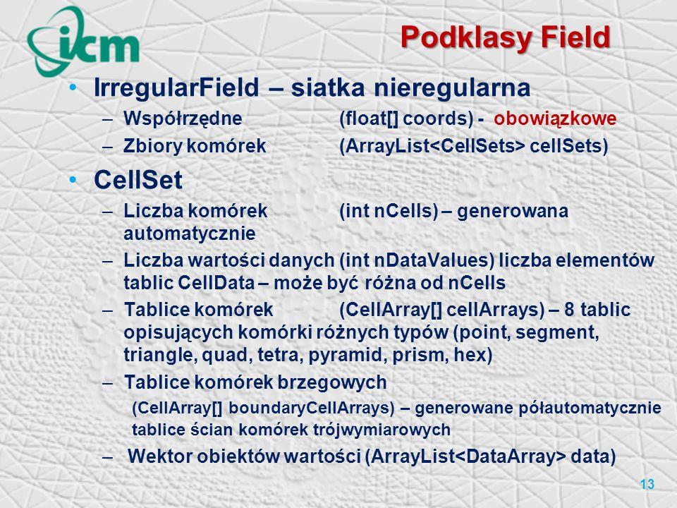 Podklasy Field IrregularField – siatka nieregularna CellSet