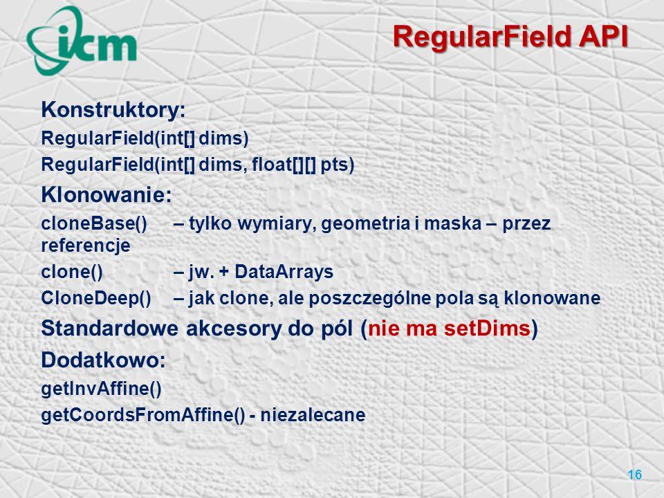 RegularField API Konstruktory: Klonowanie: