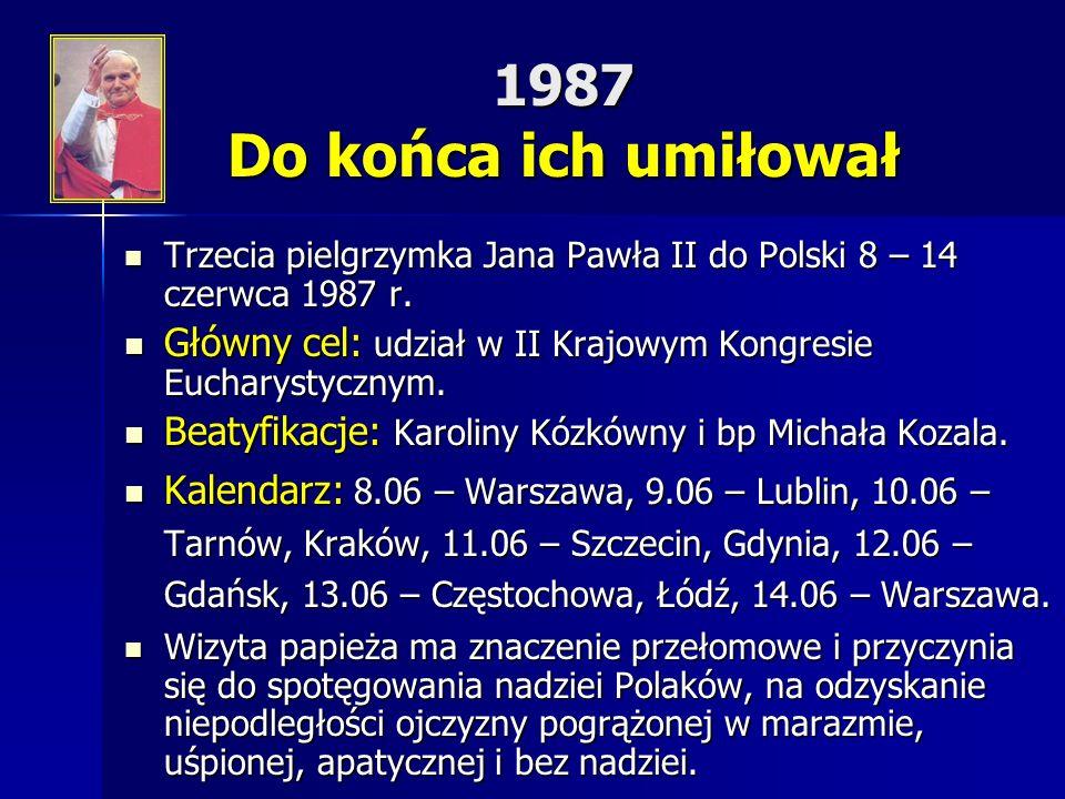 1987 Do końca ich umiłował Trzecia pielgrzymka Jana Pawła II do Polski 8 – 14 czerwca 1987 r.