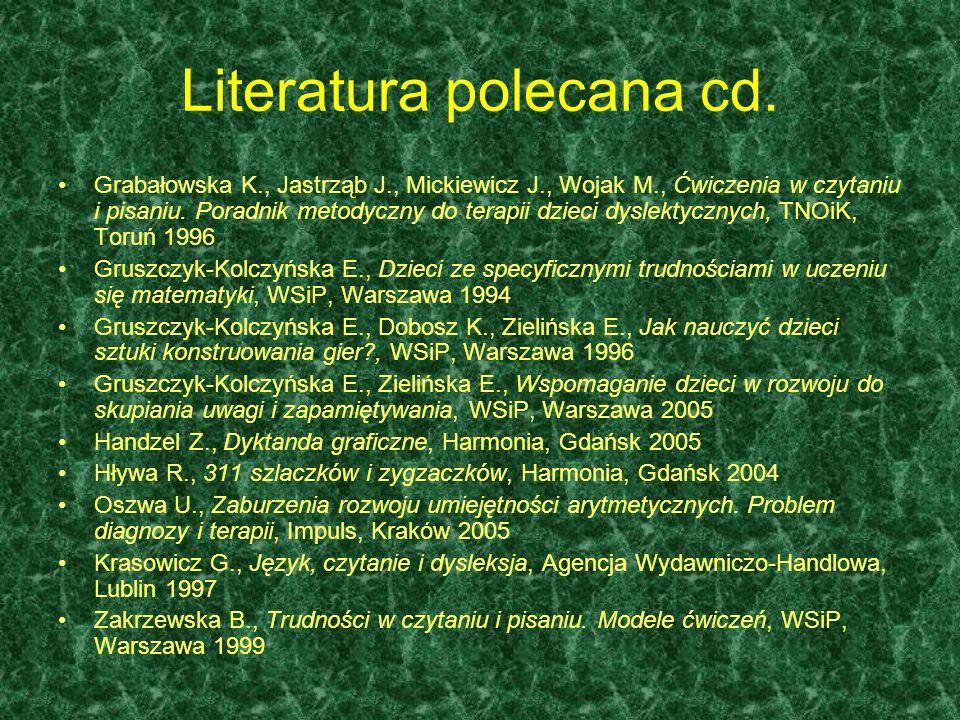 Literatura polecana cd.