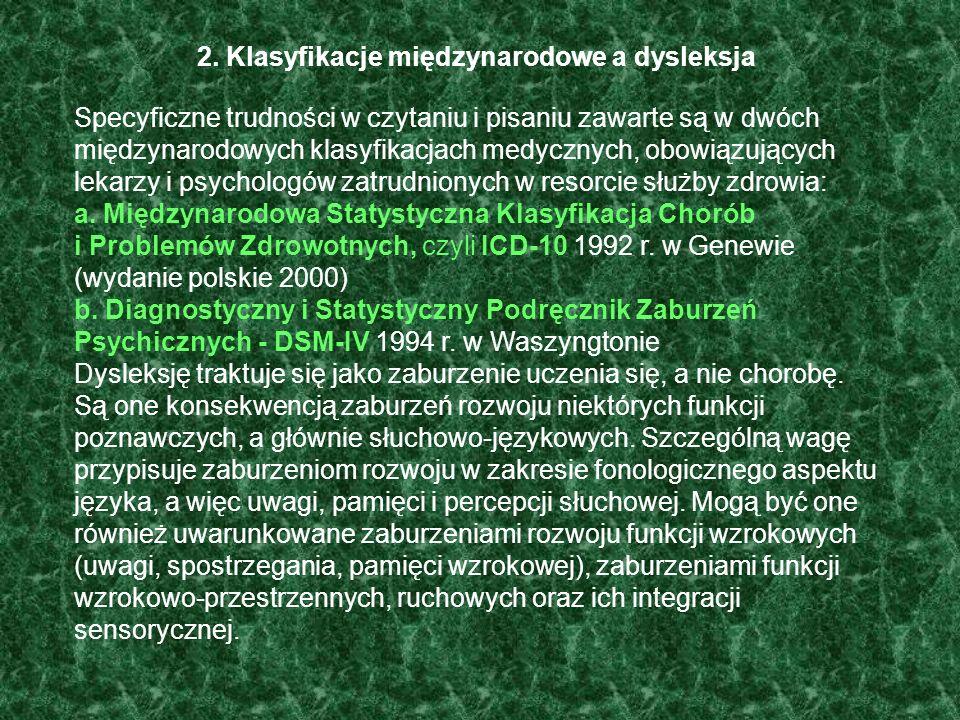 2. Klasyfikacje międzynarodowe a dysleksja