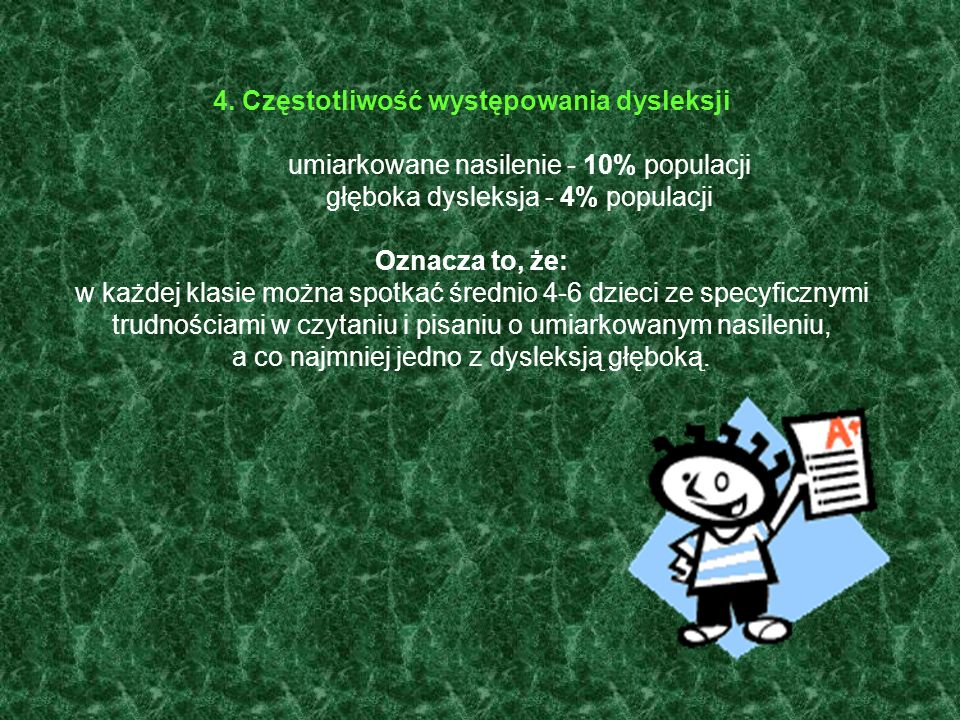4. Częstotliwość występowania dysleksji