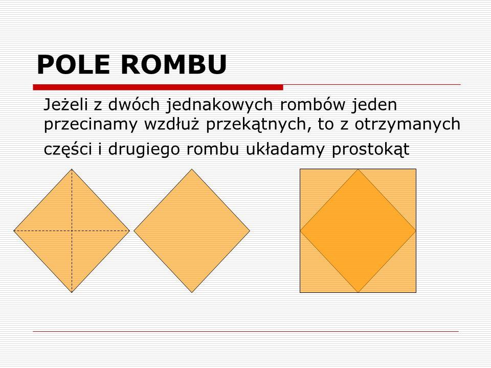 POLE ROMBU Jeżeli z dwóch jednakowych rombów jeden przecinamy wzdłuż przekątnych, to z otrzymanych części i drugiego rombu układamy prostokąt.