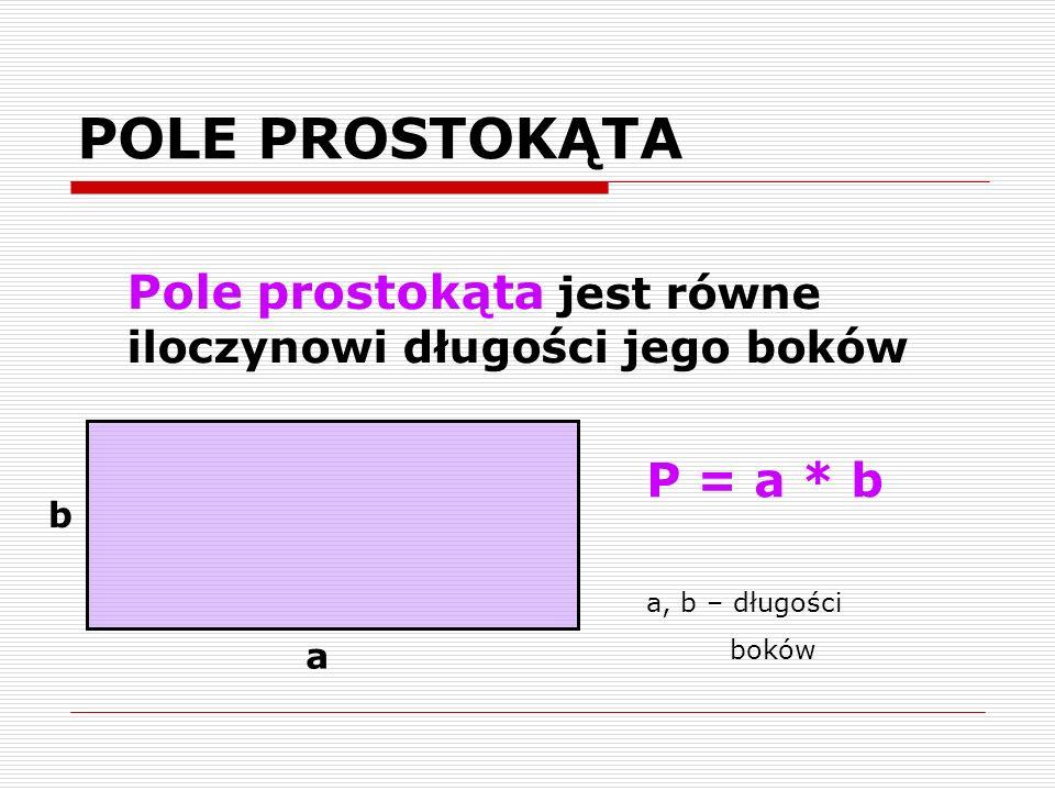 POLE PROSTOKĄTA Pole prostokąta jest równe iloczynowi długości jego boków. P = a * b. a, b – długości.