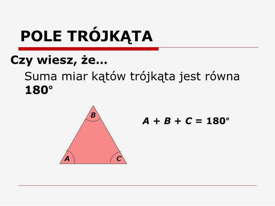 POLE TRÓJKĄTA Czy wiesz, że… Suma miar kątów trójkąta jest równa 180°