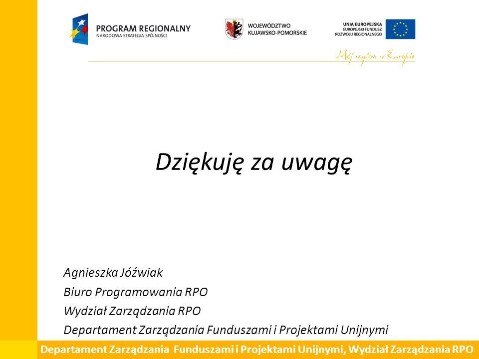Dziękuję za uwagę Agnieszka Jóźwiak Biuro Programowania RPO