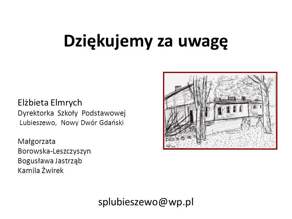 Dziękujemy za uwagę splubieszewo@wp.pl Elżbieta Elmrych