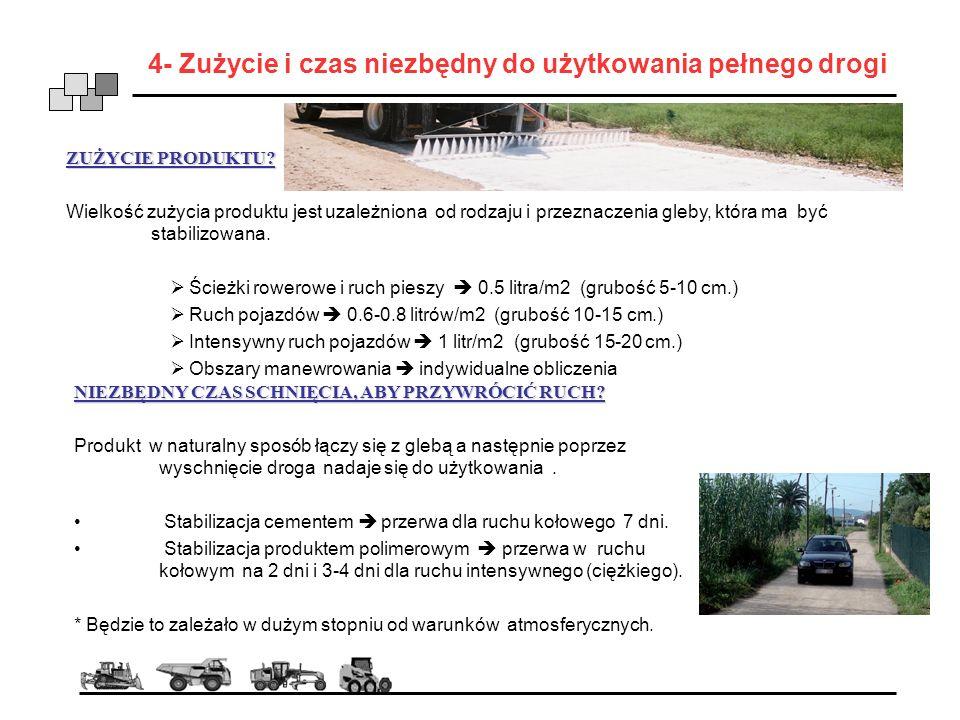 4- Zużycie i czas niezbędny do użytkowania pełnego drogi