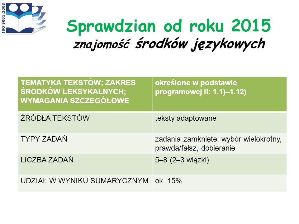 Sprawdzian od roku 2015 znajomość środków językowych
