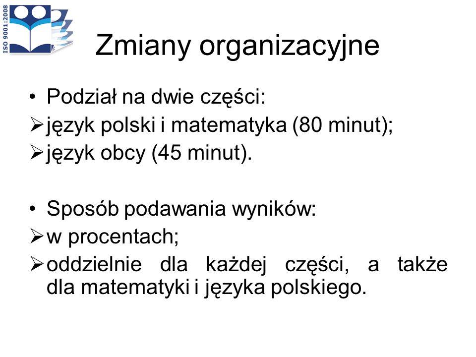 Zmiany organizacyjne Podział na dwie części:
