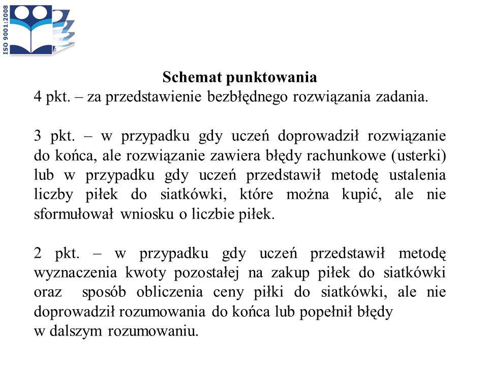 Schemat punktowania 4 pkt. – za przedstawienie bezbłędnego rozwiązania zadania.