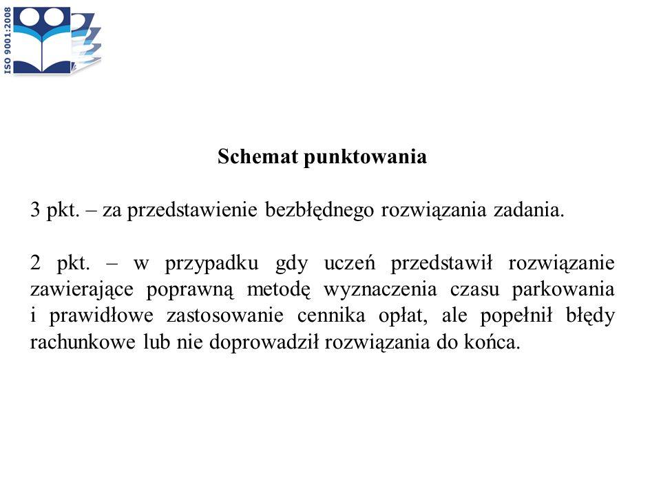 Schemat punktowania 3 pkt. – za przedstawienie bezbłędnego rozwiązania zadania.