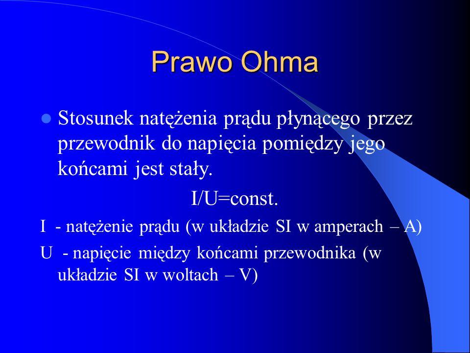Prawo Ohma Stosunek natężenia prądu płynącego przez przewodnik do napięcia pomiędzy jego końcami jest stały.