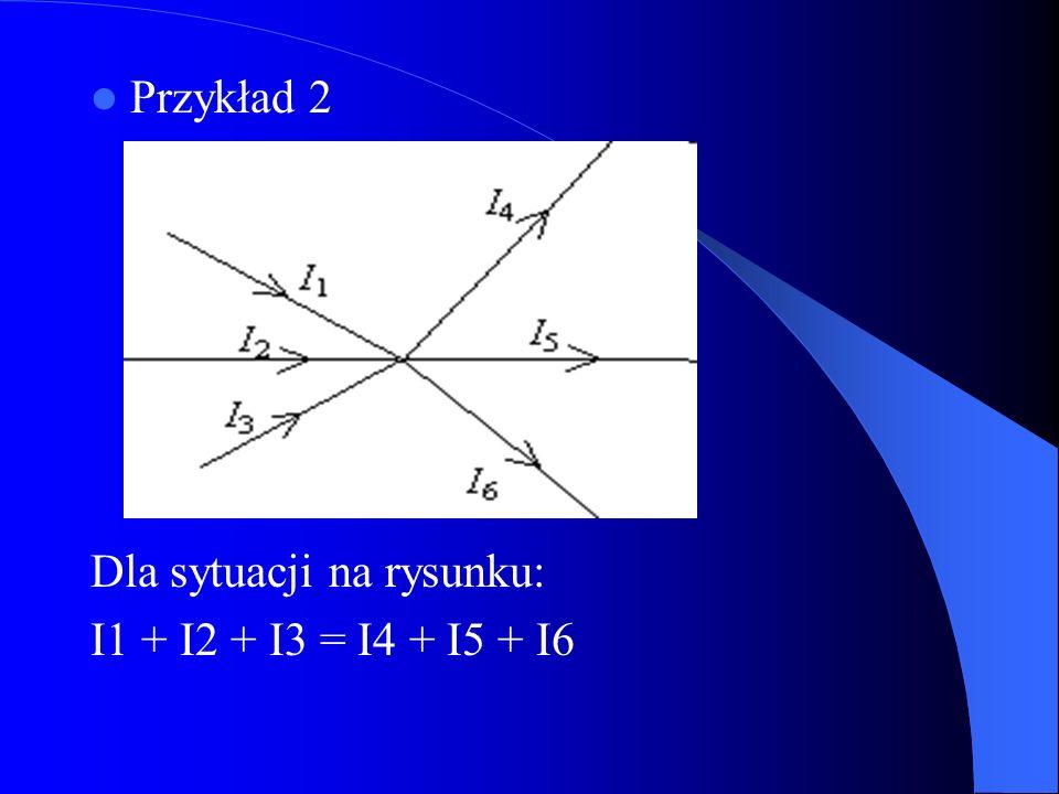 Przykład 2 Dla sytuacji na rysunku: I1 + I2 + I3 = I4 + I5 + I6