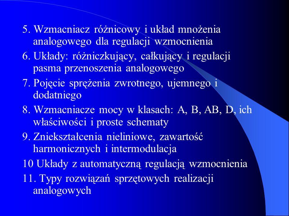 5. Wzmacniacz różnicowy i układ mnożenia analogowego dla regulacji wzmocnienia