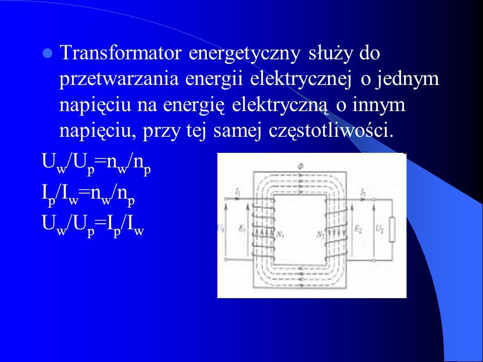 Transformator energetyczny służy do przetwarzania energii elektrycznej o jednym napięciu na energię elektryczną o innym napięciu, przy tej samej częstotliwości.