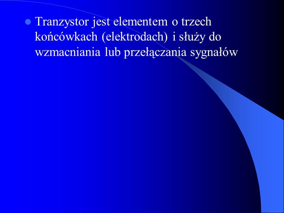 Tranzystor jest elementem o trzech końcówkach (elektrodach) i służy do wzmacniania lub przełączania sygnałów