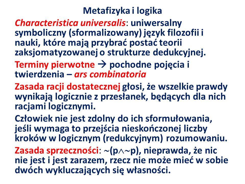Metafizyka i logika Characteristica universalis: uniwersalny symboliczny (sformalizowany) język filozofii i nauki, które mają przybrać postać teorii zaksjomatyzowanej o strukturze dedukcyjnej.