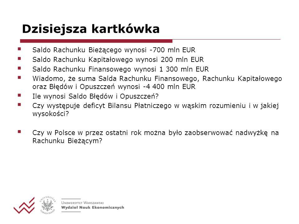 Dzisiejsza kartkówka Saldo Rachunku Bieżącego wynosi -700 mln EUR