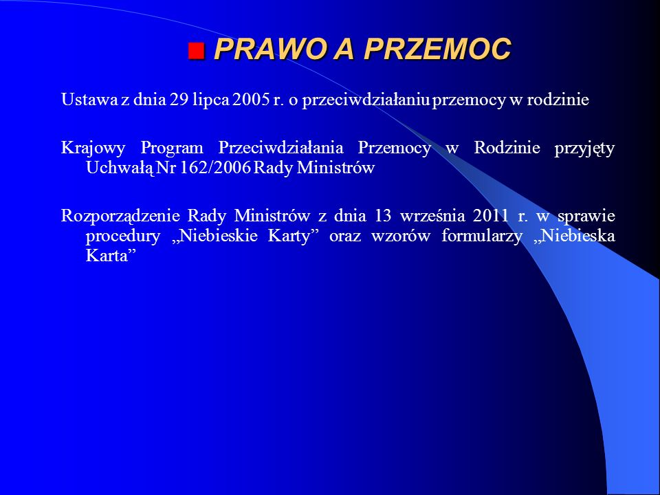 * PRAWO A PRZEMOC. Ustawa z dnia 29 lipca 2005 r. o przeciwdziałaniu przemocy w rodzinie.