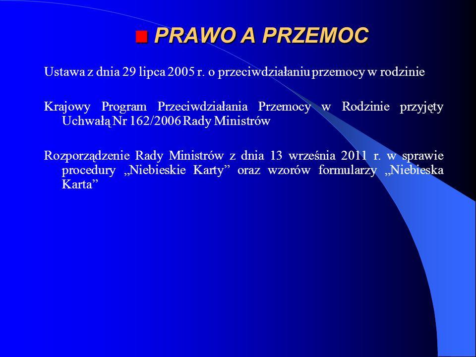 *PRAWO A PRZEMOC. Ustawa z dnia 29 lipca 2005 r. o przeciwdziałaniu przemocy w rodzinie.