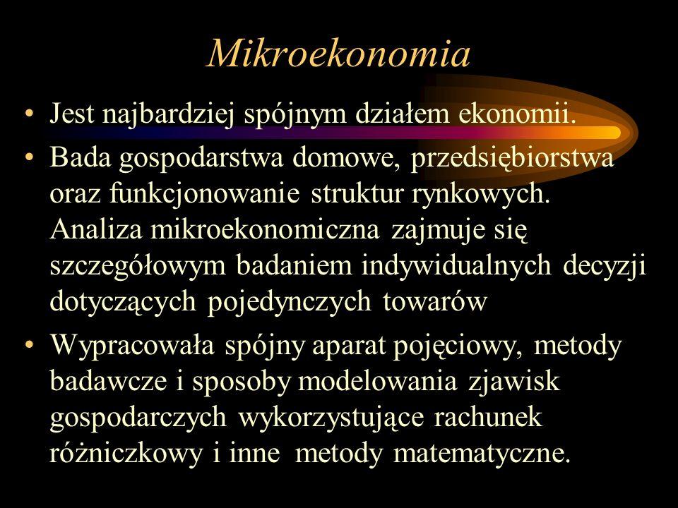 Mikroekonomia Jest najbardziej spójnym działem ekonomii.