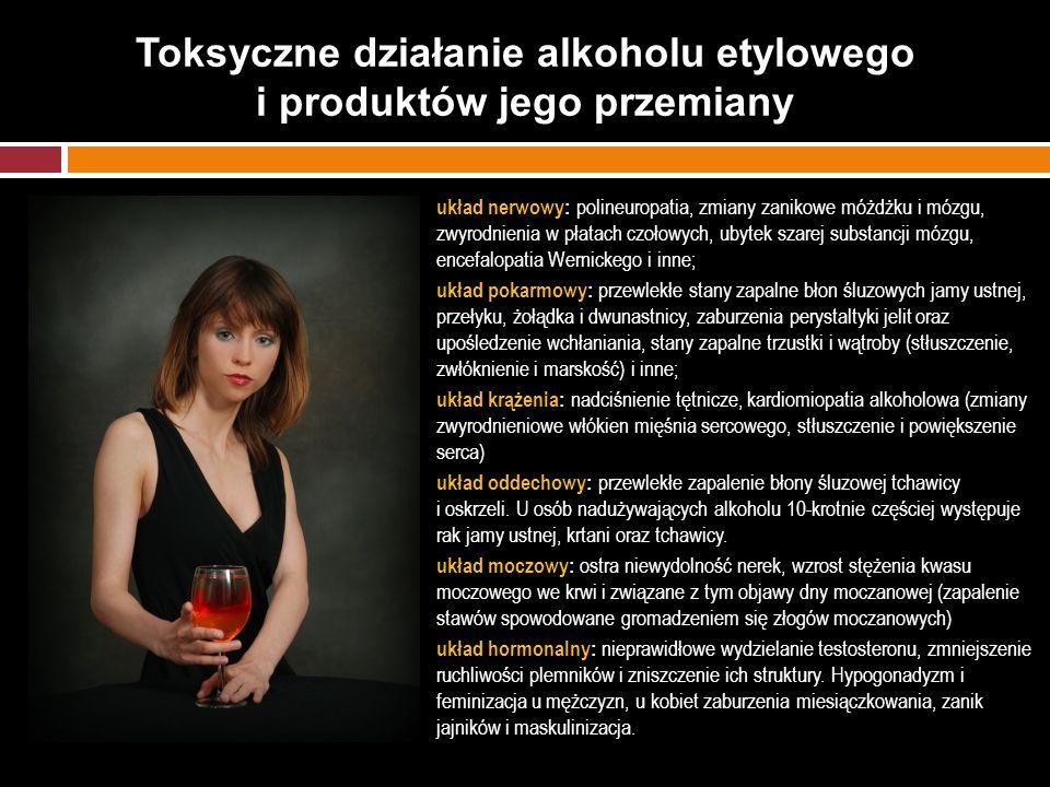 Toksyczne działanie alkoholu etylowego i produktów jego przemiany