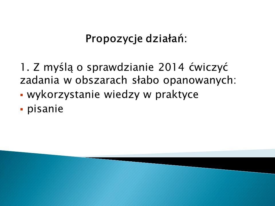 Propozycje działań: 1. Z myślą o sprawdzianie 2014 ćwiczyć zadania w obszarach słabo opanowanych: wykorzystanie wiedzy w praktyce.