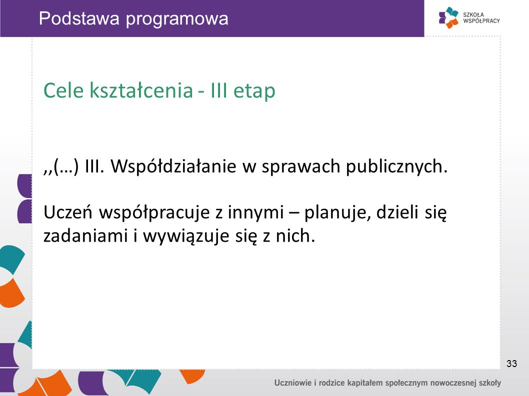 Cele kształcenia - III etap