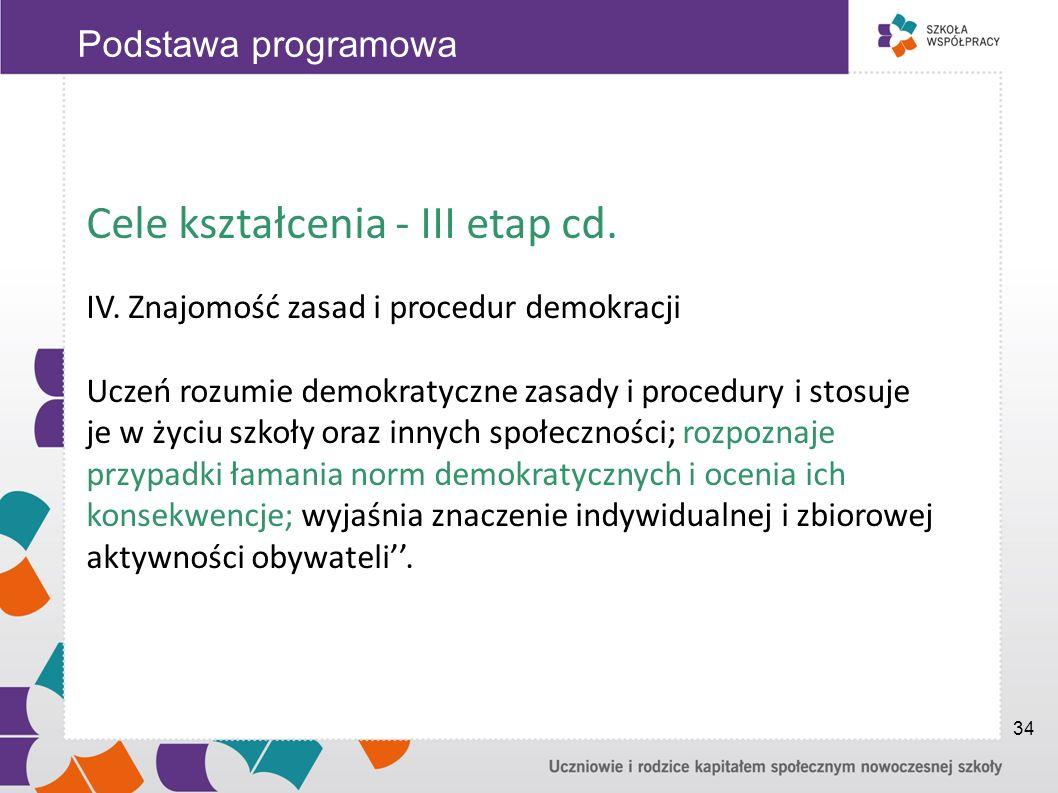 Cele kształcenia - III etap cd.
