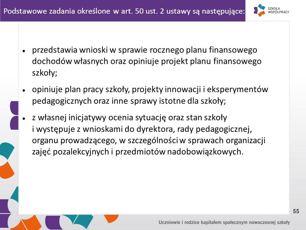 Podstawowe zadania określone w art. 50 ust. 2 ustawy są następujące: