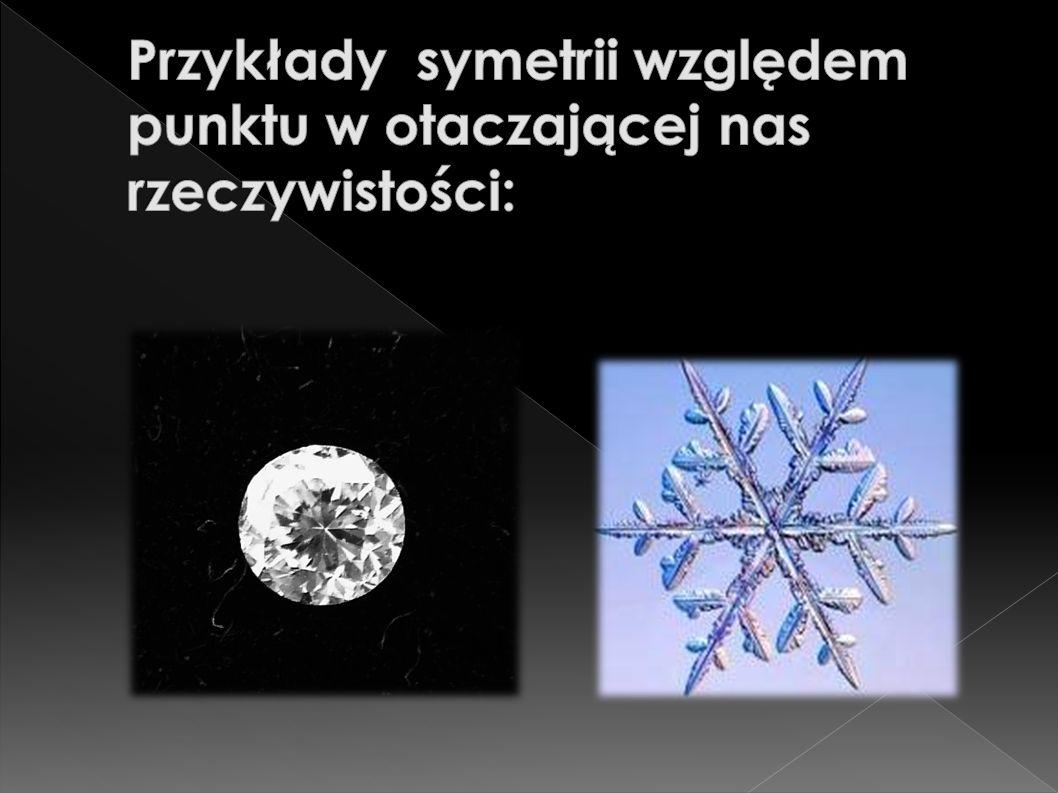 Przykłady symetrii względem punktu w otaczającej nas rzeczywistości: