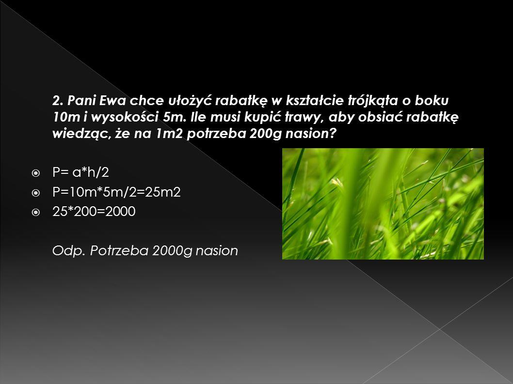 2. Pani Ewa chce ułożyć rabatkę w kształcie trójkąta o boku 10m i wysokości 5m. Ile musi kupić trawy, aby obsiać rabatkę wiedząc, że na 1m2 potrzeba 200g nasion