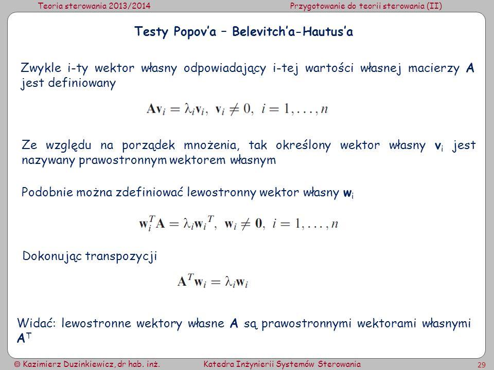 Testy Popov'a – Belevitch'a-Hautus'a