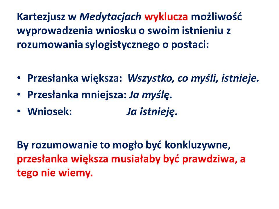 Kartezjusz w Medytacjach wyklucza możliwość wyprowadzenia wniosku o swoim istnieniu z rozumowania sylogistycznego o postaci: