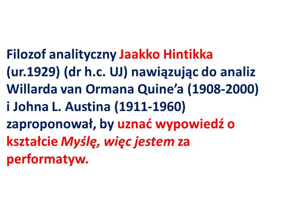 Filozof analityczny Jaakko Hintikka (ur. 1929) (dr h. c
