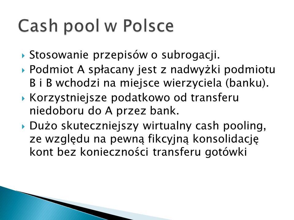 Cash pool w Polsce Stosowanie przepisów o subrogacji.