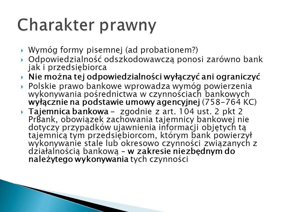 Charakter prawny Wymóg formy pisemnej (ad probationem )