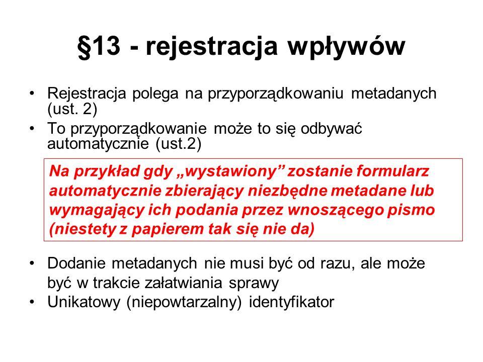 §13 - rejestracja wpływów