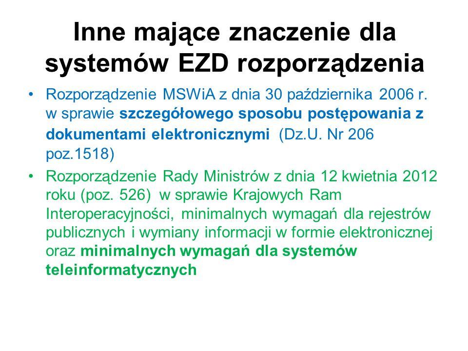 Inne mające znaczenie dla systemów EZD rozporządzenia