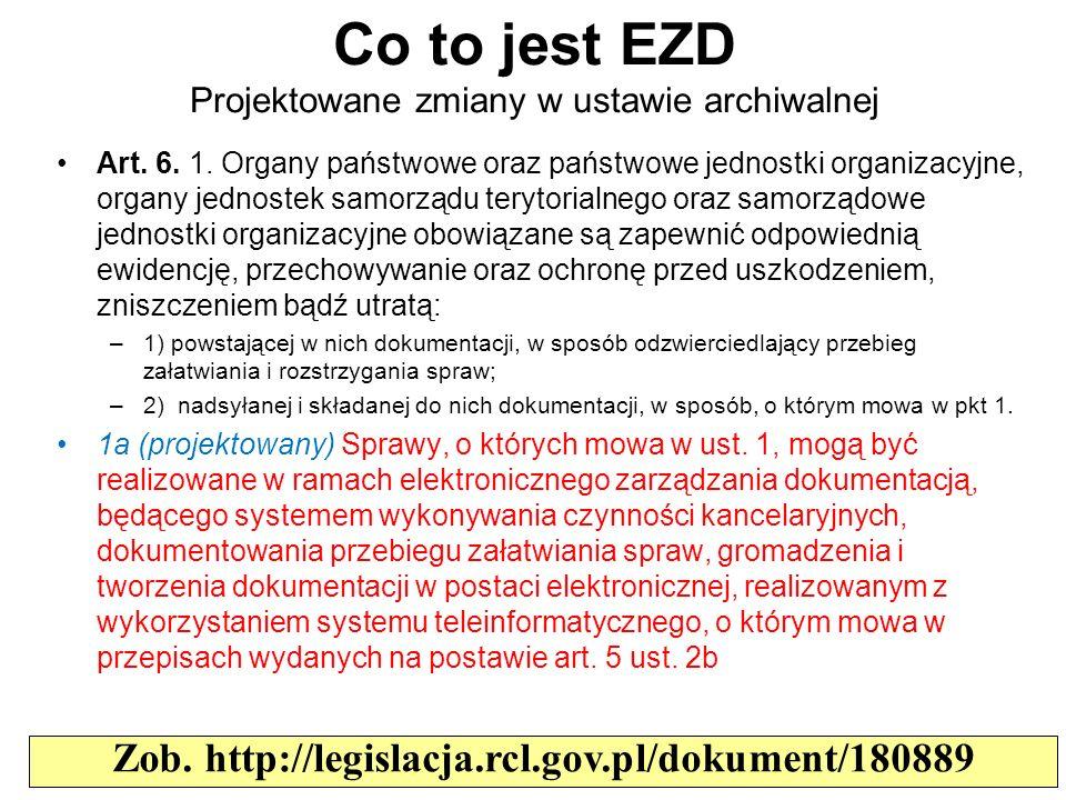 Co to jest EZD Projektowane zmiany w ustawie archiwalnej