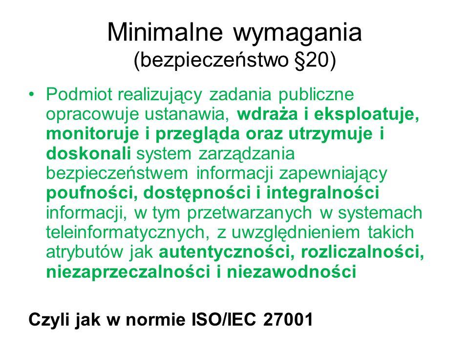 Minimalne wymagania (bezpieczeństwo §20)