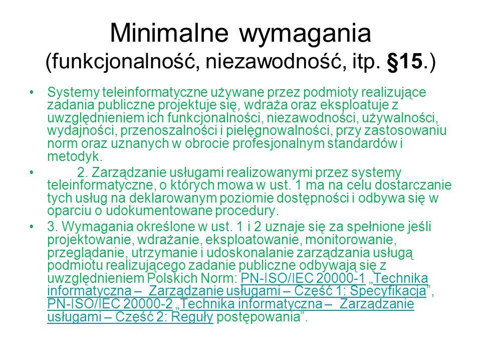 Minimalne wymagania (funkcjonalność, niezawodność, itp. §15.)