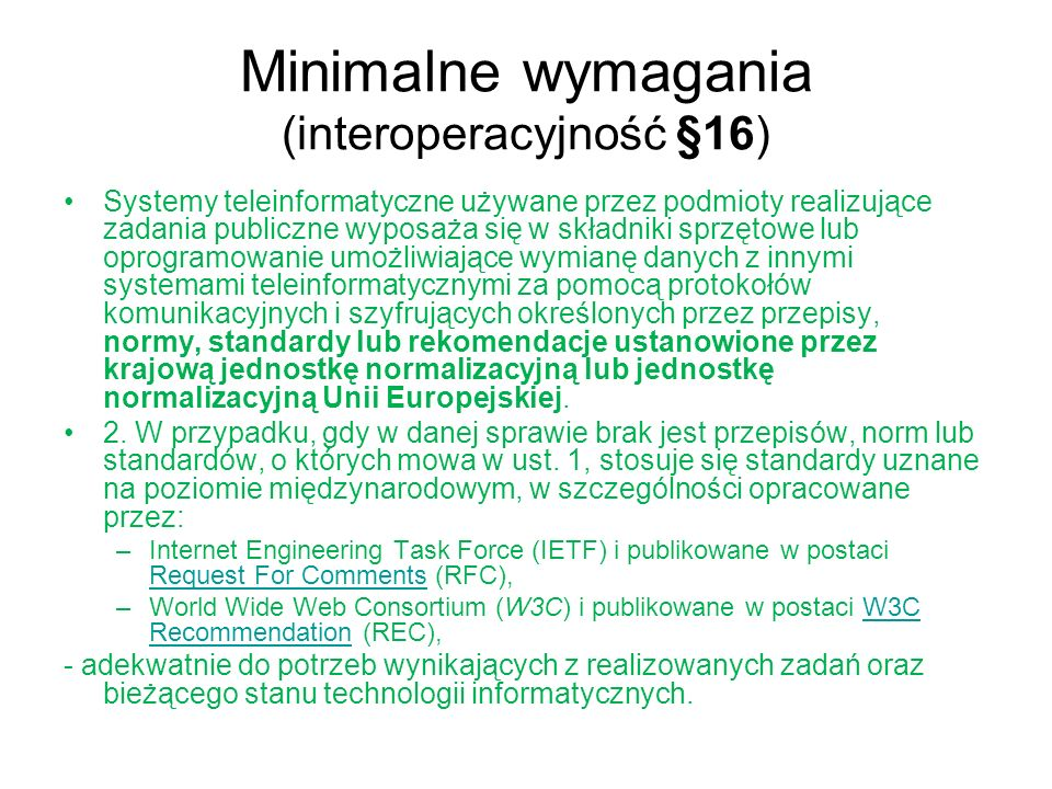 Minimalne wymagania (interoperacyjność §16)
